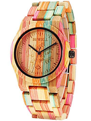 Alienwork Damen-Armbanduhr Quarz Mehrfarbig mit Holz-Armband natürliche Bambus handgefertigt