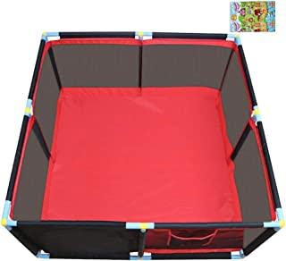 CXHMYC Square baby park for children  fence activity protection center child household safety portable mounted inside  with creep matte 128x66cm