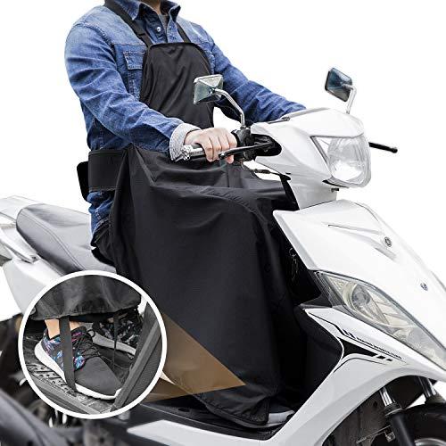 LOETAD Coprigambe Universale Scooter Impermeabile e Antivento Nero Sacchetto per Riporlo Incluso Design a Fissaggio del Piede