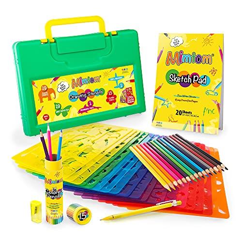 Mimtom Stencil per Bambini | Set da Disegno con Stencil 58 PZ con più di 370 Forme per Sviluppo creatività | Giocattolo educativo Sicuro per Bimbi e Bimbe +4 Anni – Ottima Idea Regalo