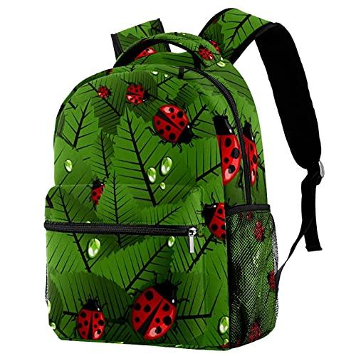 LynnsGraceland Mochila escolar para niñas niños mochila informal bolsa de viaje para senderismo Ladybug y hojas con múltiples bolsillos