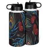 Vaso de agua de viaje de acero inoxidable de plumas de pavo real con doble pared con tapa, pajita simplicidad para actividades al aire libre, blanco 1000 ml (32 oz)
