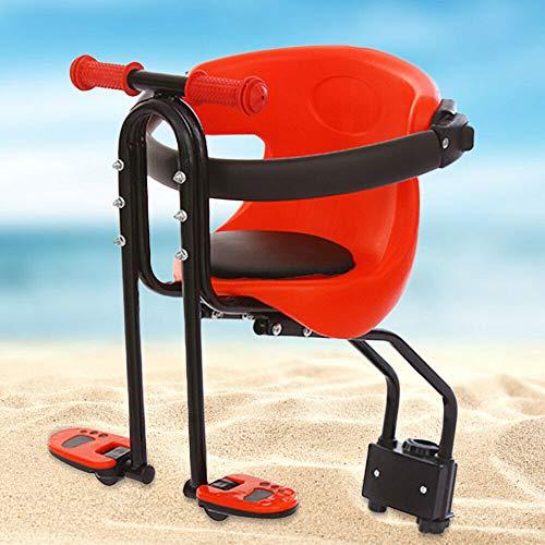 Wangkangyi Kinder Fahrradsitz Sicherheits-Kindersitz Baby Fahrrad-Vordersitz Rot mit Pedal Kindersitz vorn für Damen u Herrenfahrrad Baby Fahrrad Sitz