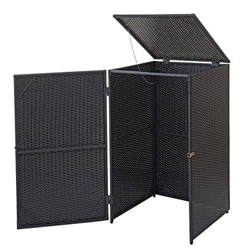 Mendler Mülltonnenverkleidung HWC-E25, Mülltonnenbox Mülltonnenabdeckung, Poly-Rattan 120l ~ schwarz