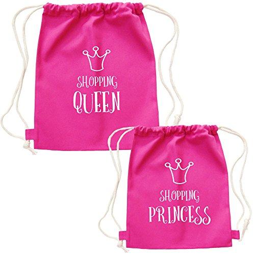 Partybob Mutter Tochter Partnerlook Rucksack-Set Shopping Queen & Princess