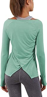 Women's Workout Long Sleeve Shirts Activewear Exercise Tops Yoga Sports Clothes with Thumb Holes