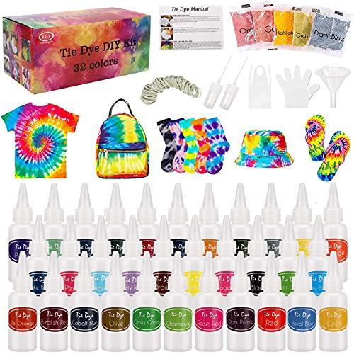 TopDirect 205Pcs Tie Dye Kit, 32 Colores Tintes Textiles de Tela Brillantes Tie Dye para Arte de Bricolaje Tie-Dye para Niños y Adultos
