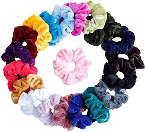 20 coleteros elásticos de terciopelo, cintas elásticas para cabello rizado, para mujeres o niñas, 20 colores surtidos