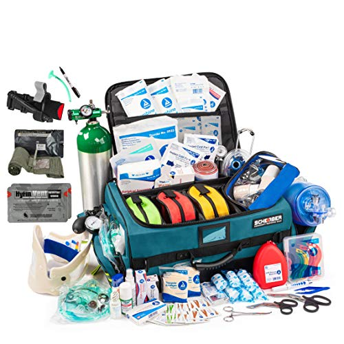 Scherber Fully-Stocked Premium First Responder Bag | Large Pro EMT/EMS Trauma, Bleeding & Oxygen Medical Kit | CAT Tourniquet, HyFin Vent Chest Seal, Israeli Bandage & 250+ First Aid Supplies - Blue