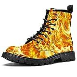 Blaze fuego textura impermeable zapatos planos cordones botines tacón bajo trabajo botas de combate, color, talla 43.5 EU