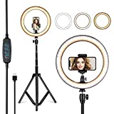 VillSure 10' Selfie Ring Light with Tripod Stand, LED Ring Light...