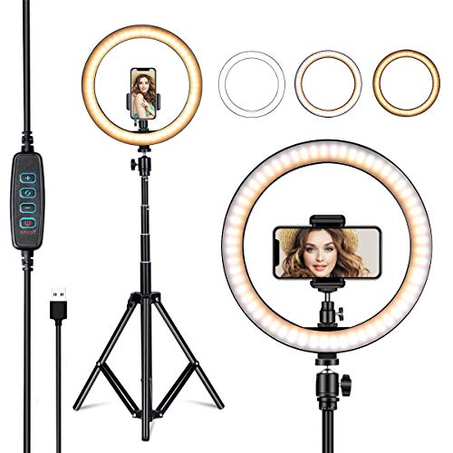 VillSure 10' Selfie Ring Light with Tripod Stand, LED Ring Light & Phone Holder for iPhone Android,Ringlight for Live Stream/Makeup/Photography/YouTube Video