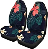 Semtomn Set of 2 Car Seat Covers Green Summer Colorful Tropical Plants and Hibiscus Flowers Universal Auto Front Seats Protector Fits for Car,SUV Sedan,Truck