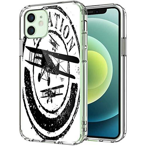 """Coque transparente vintage pour iPhone 12 Mini 5,4"""" 2020 - Style Grunge avec motifs d'aviation et silhouettes d'avion, pour homme et femme - Coque de protection fine et souple antichoc - Multicolore"""