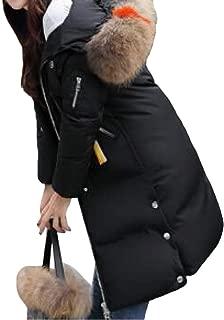 Womens Casual Long Sleeve Button Zipper Pockets Thicken Warm Hooded Down Overcoats Coat Outwear