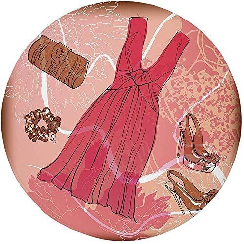 W-WEE Alfombra Redonda Alfombra, Tacones y Vestidos, Primavera Inspirada en el telón de Fondo Abstracto Floral Pulsera de Zapatos de Vestir de Color Rosa, Rosa marrón Blanco