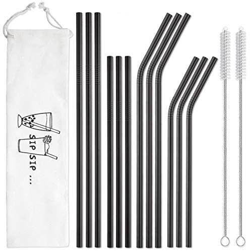 Black Stainless Steel Straws Reusable with Case, Dishwasher Safe, 2 Cleaning Brushes Included