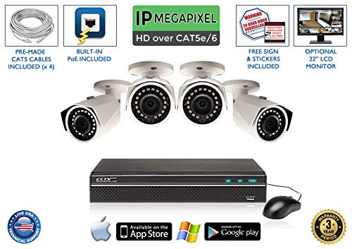 Best Deals! 4MP 100 Foot Night Vision Super HIGH Definition 4 Channel Network Video Recorder with 4 ...