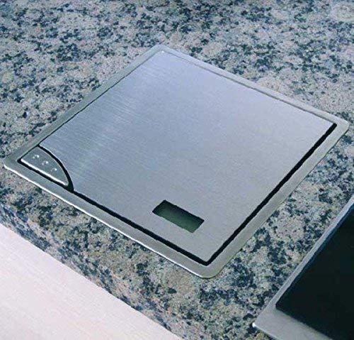 Küchenwaage Edelstahl bis 5 Kg Waage 21x21cm Digitalwaage Einbauwaage *32159