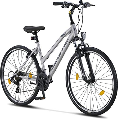 Licorne Bike Bici da Trekking, da 28 Pollici, per Ragazzi, Ragazze, Donne e Uomini, con Cambio a 21 Marce, Life M-V, Bambina, Grigio/Nero, 28 Inches