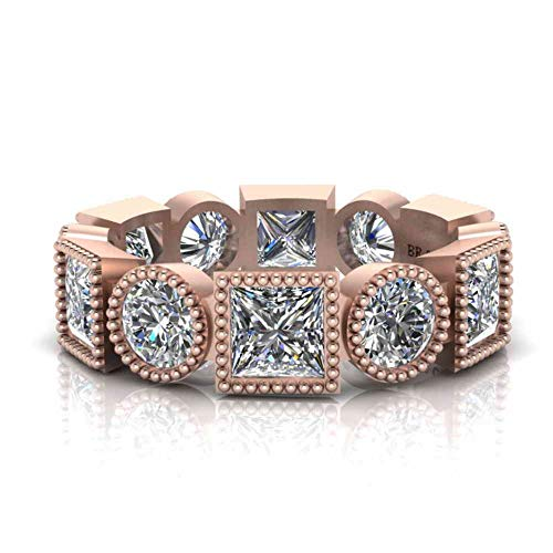 Jbr - Anillo milgrain antiguo para mujer, de plata de ley, con diamantes brillantes, para aniversario, boda, compromiso, para mujer