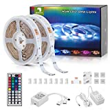 Sunity LED Strip Lights 32.8ft for Bedroom, with 8.2ft Long Power Cord, 44 Keys Remote Control, and 300 Bright 5050 RGB LEDs for DIY House/Kitchen/Ceiling/Bedroom Decoration