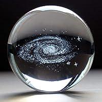 Waltz&F 直径60mm 銀河系クリスタルボール 水晶玉 スタンド付き 装飾品 プレゼント インテリア 置く物