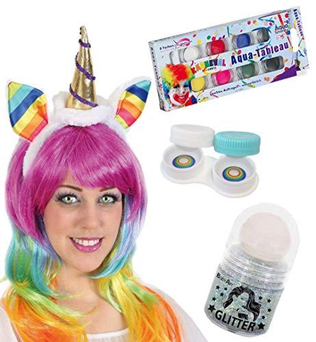 KarnevalsTeufel Zubehör-Set Einhorn 4-teilig Haarreif mit Kontaktlinsen, Aqua Schmink-Tableau und Glitter Roller in Silber Fabelwesen Accessoires