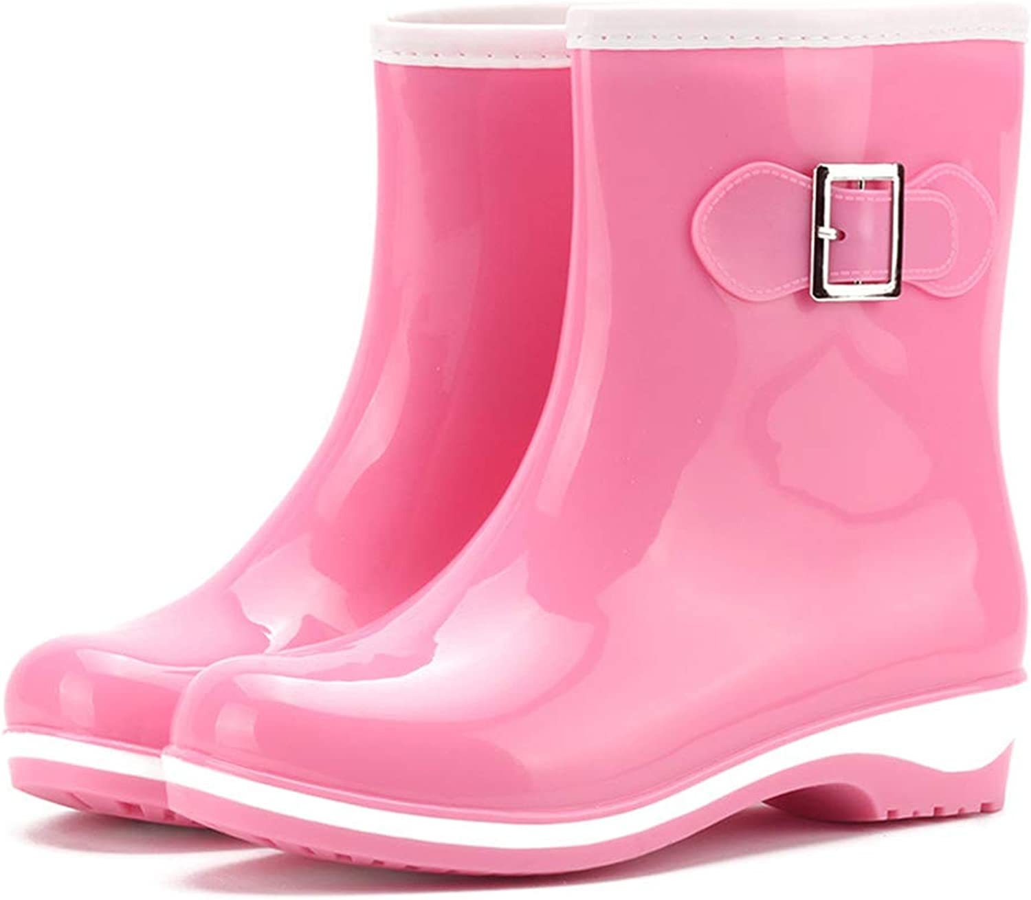 Fancyww Women's Warm Solid color Non-Slip Jelly rain Boots