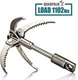 Stainless Steel Survival Grappling Hook – The Multifunctional QUADPALM Grapple Hook has 4 Folding Claws - Great Gear for Outdoor Camping Hiking Tree Rock Mountain Climbing Equipment