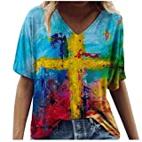 Summer Tops,Women Shirts Plus Size V Neck Flowers Printing Tunic Tops Flowy Short Sleeve Blouses Shirts
