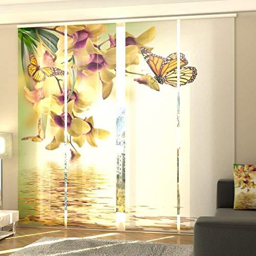 Wellmira Fotogardine, Flächenvorhang, Fotodruck, Schiebevorhang, Bedruckte Schiebegardinen, Gardine mit Motiv, auf Maß (4 x 145x40)