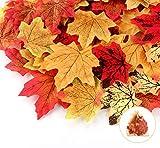 Sweelov 250 Stück künstliche Ahornblatt Herbstlaub Blätter Ahorn Laub Simulation Ahornblatt Für Halloween Erntedankfest Weihnachten Unterlage Wandbild, 5 Farben