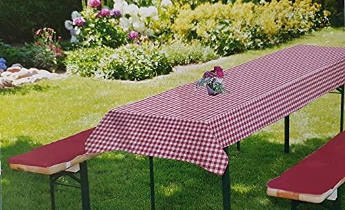 Bier Bankauflage 3-TLG. Set I Inkl. Tischdecke 240 x 70cm I Trendfarben rot weiß I Bierbankauflage I Auflagen Set für Gartenmöbel Bierbänke und Tische I Erfüllt ÖKO Tex ® 100 Standard