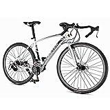 DJYD Männer Rennrad, 21 Speed-High-Carbon Stahlrahmen-Straßen-Fahrrad, voller Stahl Rennrad mit mit Doppelscheibenbremse, 700 * 28C Räder, Weiss FDWFN (Color : White)
