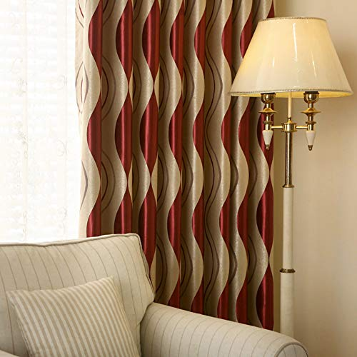 2 Panels Set Modern Striped Curtains for Living Room Eyelet Room Darkening Curtains for Bedroom (Red,2 x 66x90 Inch)