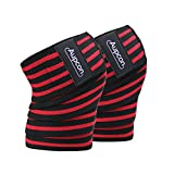 AUPCON Knee Wraps Weightlifting Knee Straps Knee Squat Wraps Cross Training WODs, Fitness Powerlifting Compression & Elastic Support Gym Workout for Squats Men Women 1 Pair Red