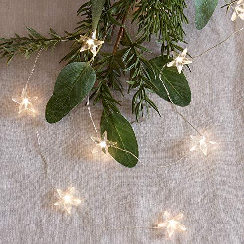 Lights4fun - Cadena de 50 Micro LED Blanco Cálido con Estrellas Transparentes en Alambre