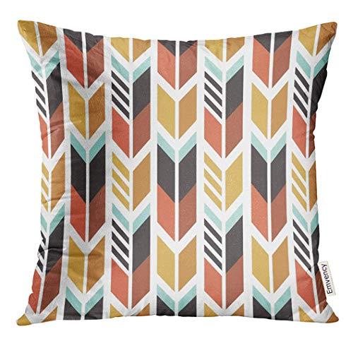 gatetop Throw Pillow Cover Indien coloré Motif Ethnique avec des flèches Aztèque Native décoratif taie d'oreiller Home Decor Place 18x18 Pouces taie d'oreiller