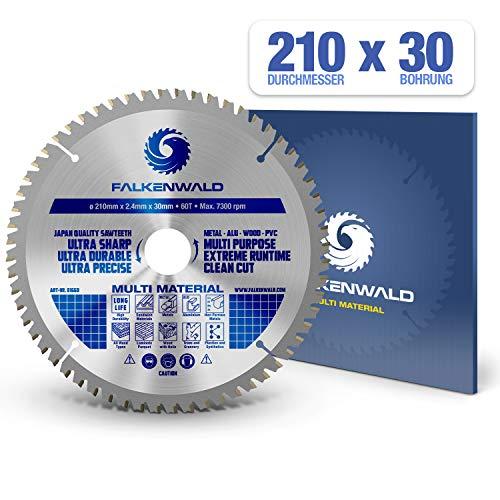 FALKENWALD ® Kreissägeblatt 210 x 30 mm - Ideal für Holz, Metall & Alu - Handkreissägeblatt kompatibel mit Kappsäge & Kreissäge von Bosch & Makita - Universal Sägeblatt aus hochwertigem Hartmetall