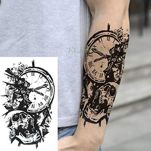 3 Piezas Etiqueta de Tatuaje a Prueba de Agua Reloj Pierna Trasera Brazo Abdomen Gran tamaño Mujer Tatuaje Masculino 3 piezas-15