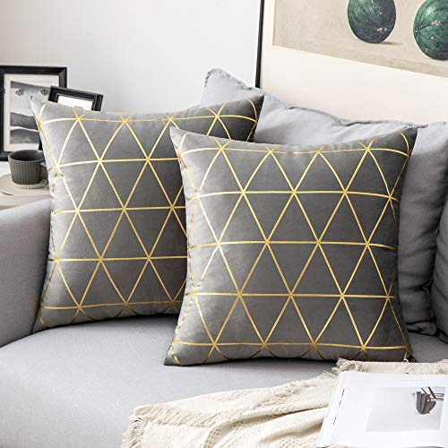 MIULEE Pack of 2 Velvet Cushion Covers Throw Pillow Covers with Gold Lines Triangle Pattern Square Decorative Soft Home for Sofa Living Room Bedroom Grey 18 x 18 Inch 45 x 45 cm