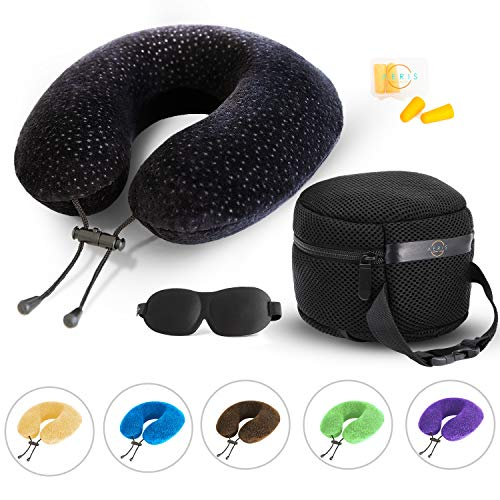 AERIS Memory Foam Travel Pillow for Airplanes - Best Airplane Neck Pillow for Long Flights - Plane Accessories Easy to Carry Bag to Save Space, Ear Plugs and Eye Mask - Perfect Flight Set & Gift