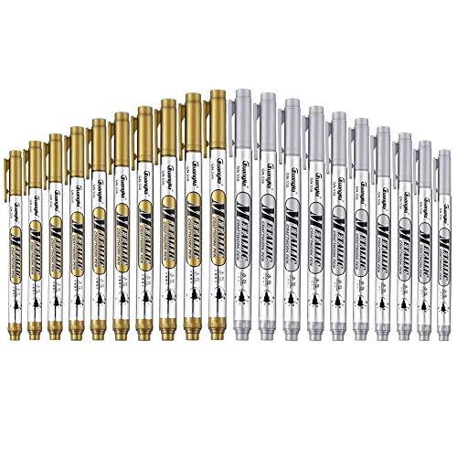 falllea 20 Stks Zilver en Goud Metallic Marker Pennen, Metallic Permanente Markers Pen Signature Pens voor Kaart maken Rock Schilderen Glas Metaal Hout Script Lettering DIY Fotoalbum