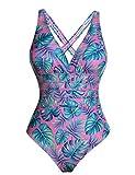 Aibrou Bañadores Mujer 2020 Trajes de Baño de Una Pieza Correas traseras Vendaje Bañadores Sexys Cuello en V Profundo Playa Monokini, (Rosa Hoja Verde, L)