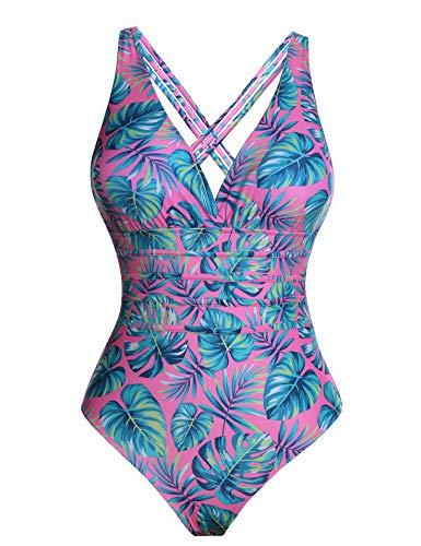 Aibrou Bañadores Mujer 2021 Trajes de Baño de Una Pieza Correas traseras Vendaje Bañadores Sexys Cuello en V Profundo Playa Monokini, (Rosa Hoja Verde, XL)