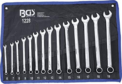 BGS 1228 | Maul-Ringschlüssel-Satz | 14-tlg. | extra lang | SW 6 - 19 mm | inkl. Tetron-Rolltasche | Gabelringschlüssel