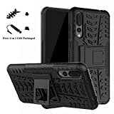 LiuShan Huawei P20 Pro Funda, Heavy Duty Silicona Híbrida Rugged Armor Soporte Cáscara de Cubierta Protectora de Doble Capa Caso para Huawei P20 Pro Smartphone(con 4 en 1 Regalo empaquetado),Negro