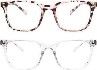 Livho 2 Pack Blue Light Blocking Computer Glasses for Women Men,TR90 Light Weight Frame Anti Eyestrain UV Lens LI5025
