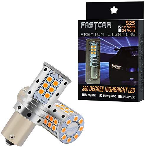 S25 bau15s PY21W LED CANBUS naranja 12V bombillas indicadoras de dirección para automóviles (ámbar 150 °)